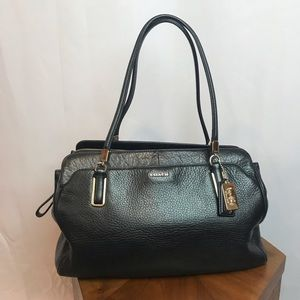 Coach Black Leather Shoulder Bag with Gold Accents